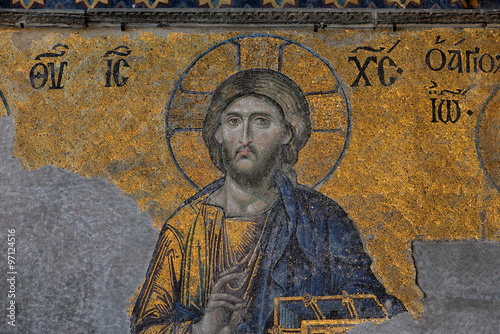 Poster Mosaic of Jesus Christ in the old church of Hagia Sophia in Ista