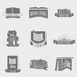 set of vector book store logo design concepts