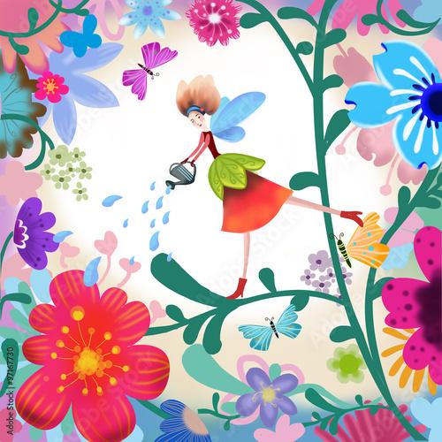Obraz The Illustration of the World of Children's Imagination: Flower Fairy. Realistic Fantastic Cartoon Style Scene / Wallpaper / Background / Card Design.