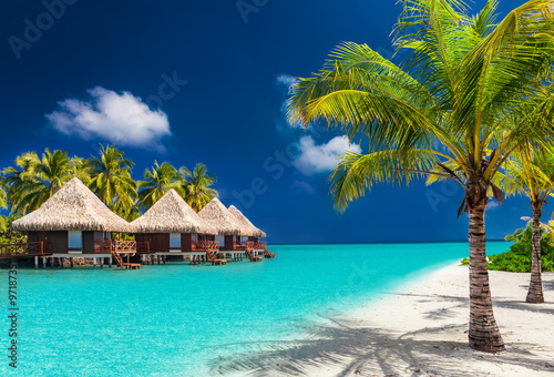 Over water bungalows on a tropical island with palm trees and am Poster