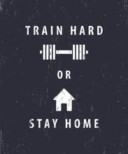 Trenować czy zostać w domu, t-shirt, projekt plakatu, ilustracji wektorowych