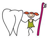 Gesundheit - Zahnpflege bei Kindern, Fräöhliches Mädchen mit Zahnbürste putzt einen Backenzahn - Vorbeugung gegen Karies