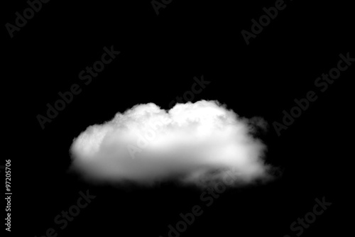 Foto Murales Beautiful Single white cloud isolated over black background