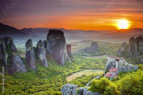 Meteora monasteries at sunset, Greece