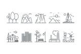 Fototapety Landscape icons. Line art. Stock vector.