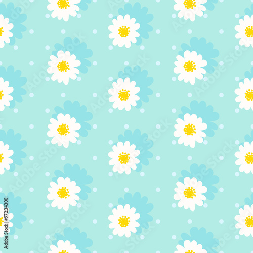 Cotton fabric White daisy seamless pattern .Daisy field. Flower chain
