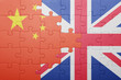 puzzle with the national flag of great britain and china