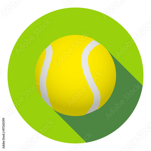 Fototapeta Icono plano pelota de tenis con sombra