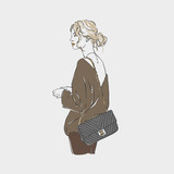 Beautiful young women in a fashion clotes with bag . Vector hand drawn illustration.