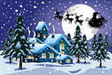 Silhouette of santa claus on sleigh or sled flying in winter christmas nighttime over  little town under snowfall