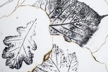 Artystyczny obraz - odciski liści - Grafika - monotypia