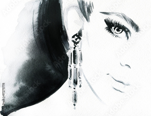 Woman face. Jewelry and Beauty. Fashion illustration - 97275778