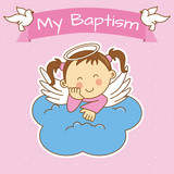 Angel wings on a cloud. girl baptism