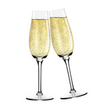 Two glasses of champagne. Merry Christmas and Happy New Year concept. Vector Illustration