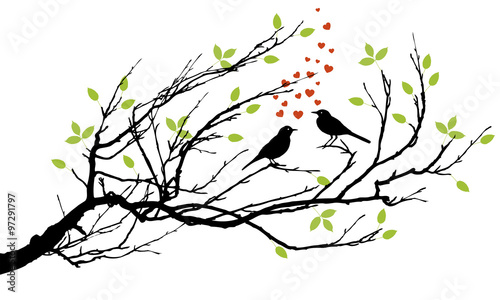 Naklejka two birds in love with hearts on a branch