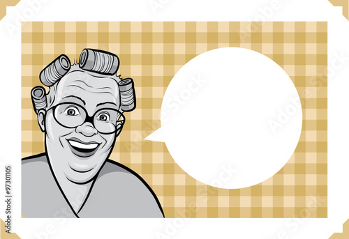 Greeting card with cartoon housewife - place your custom text