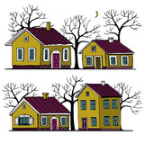 Beautiful Houses set with trees vector image.