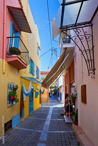 Streets in the centre of Aegina town on Aegina island, Greece