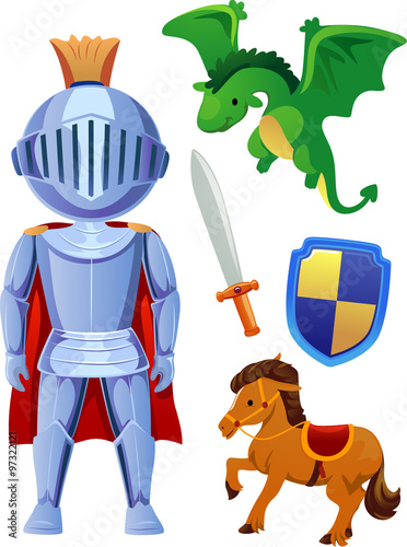 fototapeta na ścianę Little Prince Knight Elements