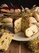 Bread and Christmas cake on the wooden table