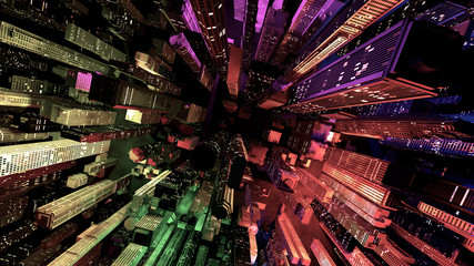 Nowoczesne miasto świeci przez kolorowe efekty świetlne w nocy