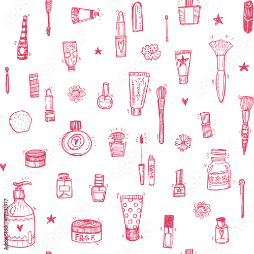 Cotton fabric Hand drawn make up and cosmetics doodle seamless background