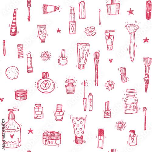 Materiał do szycia Hand drawn make up and cosmetics doodle seamless background
