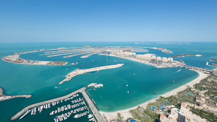 Jumeirah Palm Island dubai shot from the rooftop top of the princess tower in dubai marina, use