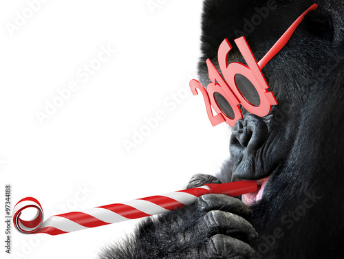 Foto op Canvas Aap Funny gorilla with noisemaker and 2016 glasses for Year of the Monkey Chinese zodiac