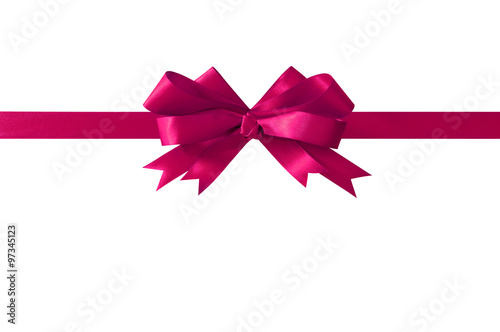 Poster Pink gift ribbon bow straight horizontal isolated on white.