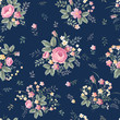 seamless floral pattern with rose bouquet ondark blue background