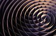 Dark intersected 3d spirals, abstract digital art
