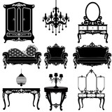 Vector great collection of furniture in the Baroque style.