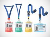 Lanyard, name tag holder end badge templates - vector
