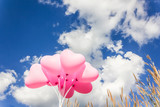 Group of lovely pink heart pattern balloons on clear light blue