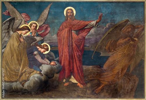 Fototapeta Antwerp - Fresco of Temptation of Jesus in Joriskerk or st. George church