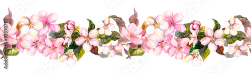 Fototapeta Seamless repeated floral border - pink cherry (sakura) and apple flowers. Watercolor