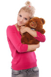 beautiful woman holding teddy bear