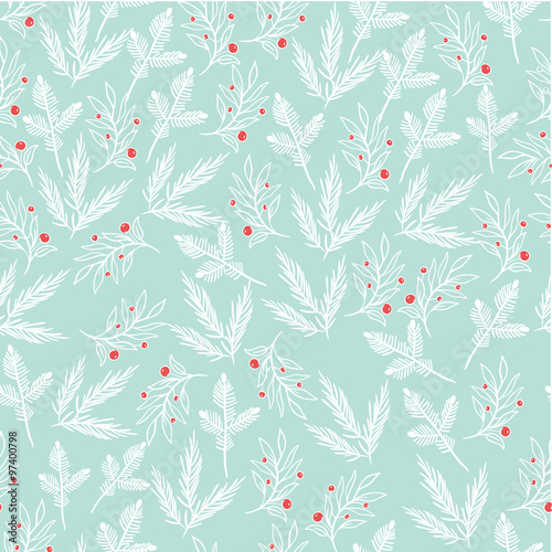 Cotton fabric Seamless floral pattern with branches and berries.