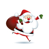 Santa Claus runs in Christmas