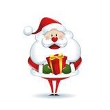 Santa Claus with box gift in white background