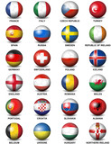 soccer balls concerning flags of  European countries participating to the final tournament of Euro 2016 football championship isolated