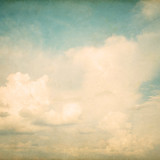 Vintage nature background of sky with cloud, old paper texture