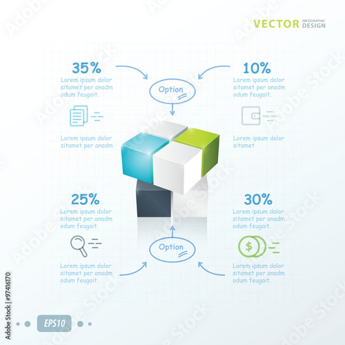 Deurstickers Geometrische dieren template 3D Cube infographic