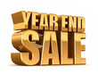 3D render of YEAR END SALE word in gold