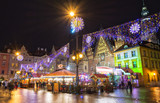 Fototapety Christmas market in Wroclaw at evening, Poland, Europe