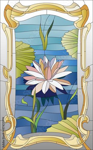 Naklejka stained glass window with lotus