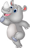 Cartoon funny rhino posing isolated on white background