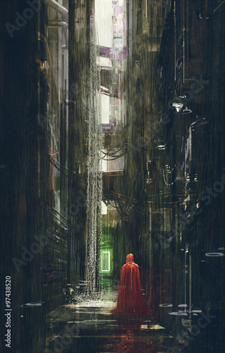 Red Riding Hood in futuristic alley,science fiction scene,illustration © grandfailure