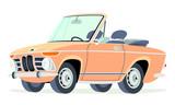 Caricatura BMW 2002 convertible abierto naranja vista frontal y lateral